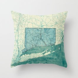 Connecticut State Map Blue Vintage Throw Pillow