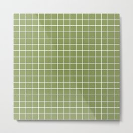 Turtle green - green color - White Lines Grid Pattern Metal Print
