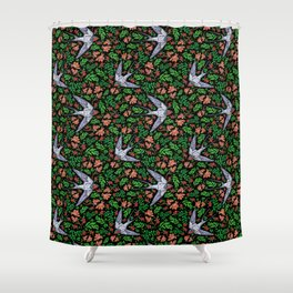 Swifts and Berries Shower Curtain
