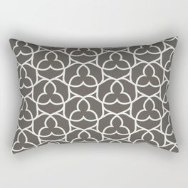 Brown and White Ornamental Shape Pattern 2 2021 Color of the Year Urbane Bronze and Extra White Rectangular Pillow