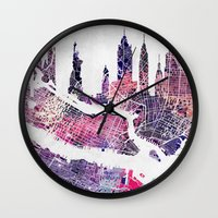new york skyline Wall Clocks featuring New York Skyline + Map by Map Map Maps