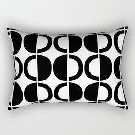 Mid Century Modern Half Circle Pattern 532 Black and White Rectangular Pillow