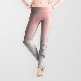 Modern blush pink watercolor ombre white marble Leggings