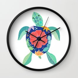 Sea turtle with large poppy flower on the shell Wall Clock