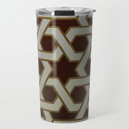 Red Blue and Gold Mosaic Painted tile   Travel Mug