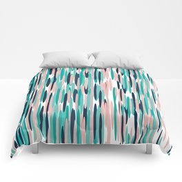 Festive, Colorful Stripes, Abstract Art, Teal, Pink, Navy Blue Comforters