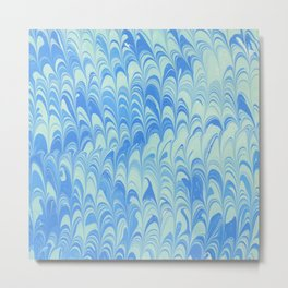 Blue Turquoise Scalloped Marbling Metal Print