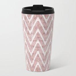 Palest Dusty Pink Zigzag Imitation Suede Chevron Travel Mug