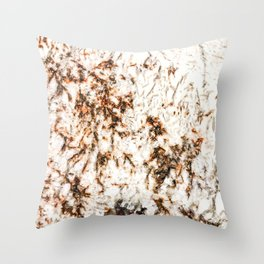 Autumn Granite // Orange and Brownish Natural Stone Patterns White Crystal Background Throw Pillow