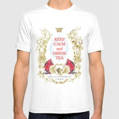 Keep calm and drink tea MEDIUM White Mens Fitted Tee