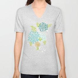 Bold Graphic Mod Mum Modern Chrysanthemum Floral Flower Aqua Blue Unisex V-Neck
