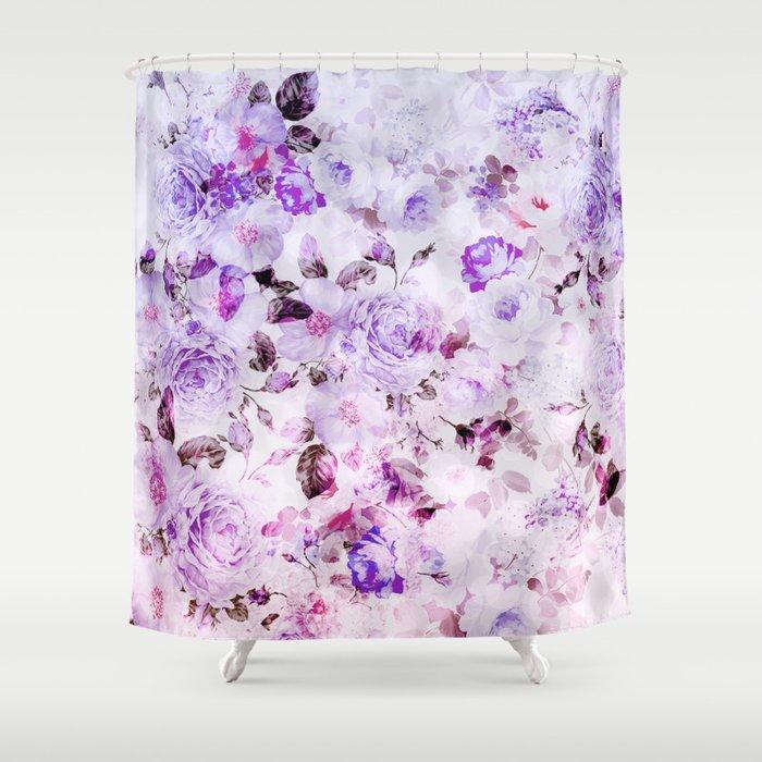 Shabby Vintage Lavender Violet Watercolor Floral Shower Curtain