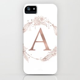 Letter A Rose Gold Pink Initial Monogram iPhone Case