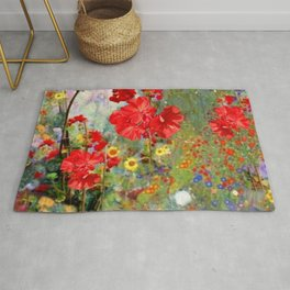Red Geraniums in Spring Garden Landscape Painting Rug