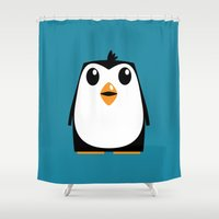 penguin Shower Curtains featuring Penguin by Pig's Ear Gear