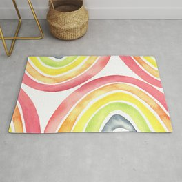Abstract Watercolor Color Rainbow Rug
