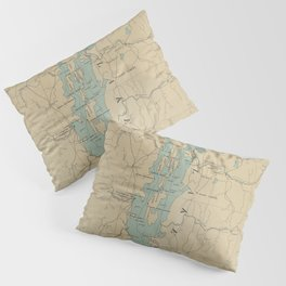 Vintage Lake Champlain Lighthouse Map (1896) Pillow Sham