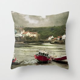 Staithes From The Harbour. Throw Pillow