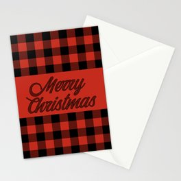 Merry Christmas Classic Red and Black Buffalo Check Pattern Stationery Cards