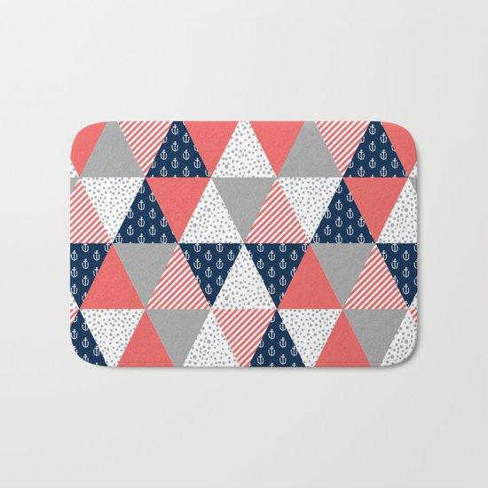 Quilt nautical navy and white modern trendy basic pattern print nursery pattern Bath Mat