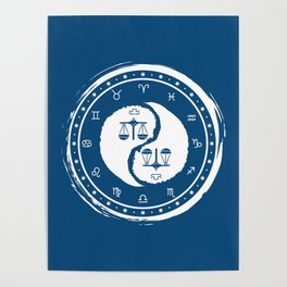 Libra Yin Yang Seventh Zodiac Sign Poster