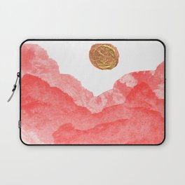 Red watercolor abstract mountains and moon Laptop Sleeve
