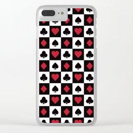 Card Pattern - Red Queen Clear iPhone Case