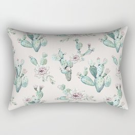Pretty Cactus Rose Pattern Pale Pink + Green Rectangular Pillow