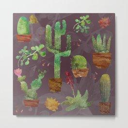 Cozy Cactus Metal Print