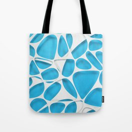 White on blue, organic abstraction Tote Bag