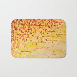 WHEN IT FALLS Bold Autumn Winter Leaves Abstract Acrylic Painting Christmas Red Orange Gold Gift Bath Mat