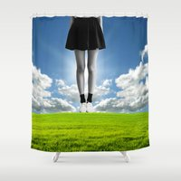 large Shower Curtains featuring living large by TRASH RIOT