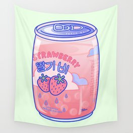 Strawberry Rain Wall Tapestry