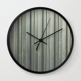 Corrugated iron of aluminum on a facade. Background image. Wall Clock