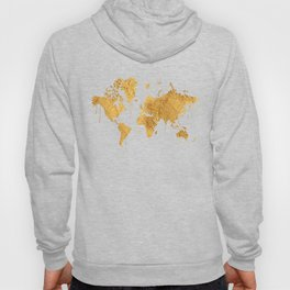 Gold World Map Hoody