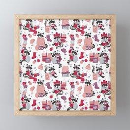 Hygge raccoon // white background Framed Mini Art Print