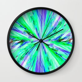 Blue/Green Feathery Abstract Wall Clock