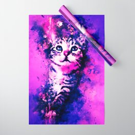 pianca baby cat kitten splatter watercolor purple pink Wrapping Paper