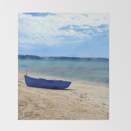 Blue boat in Greece Throw Blanket