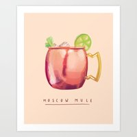 moscow Art Prints featuring Moscow Mule by Nan Lawson