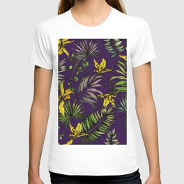 Orchid flowers and palm leaves T-shirt