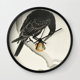 Koson Ohara - Crow with Kaki Fruit - Japanese Vintage Ukiyo-e Woodblock Painting Wall Clock