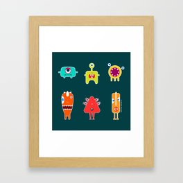 Small funny monsters Framed Art Print