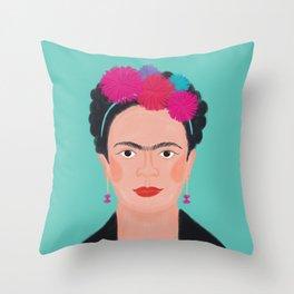 Frida Kahlo With A Pompom Headband Throw Pillow