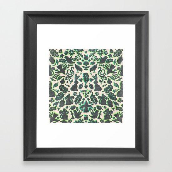 Two Rabbits - folk art pattern in grey, lime green & mint Framed Art Print