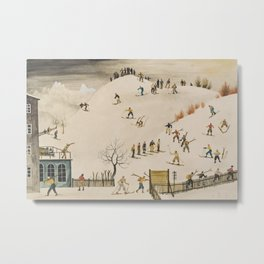 The Practice Slope winter skiing landscape painting by Franz Sedlacek  Metal Print