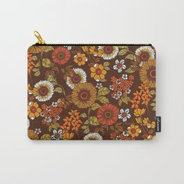 70s retro ditzy flowers, boho, browns, orange, hippie Carry-All Pouch