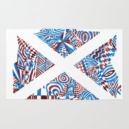 Letter X, Blue/Red Abstract (Ink Drawing) Rug