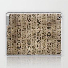 Egyptian hieroglyphs on wooden texture Laptop & iPad Skin