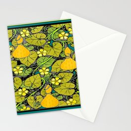 Green Art Nouveau Vines Gourds Floral Teal Art Stationery Cards